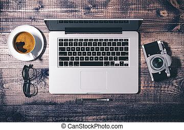 render, cima, moderno, computer, posto lavoro, vista, 3d