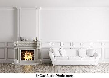 render, classique, sofa, intérieur, cheminée, 3d