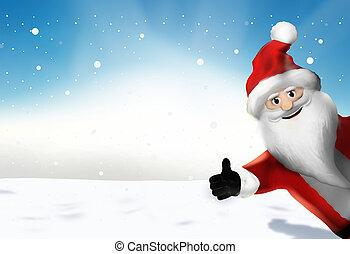 render, claus, op, kerstmis, duimen, kerstman, spotprent, 3d