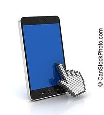 render, cliqueter, copyspace, main, curseur, téléphone, mobile, 3d