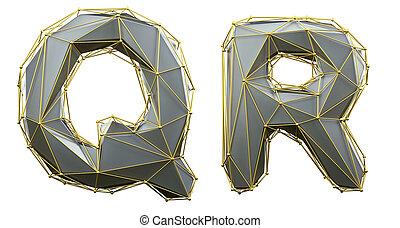 render, collection, r, color., q, ensemble, réaliste, or, bas, polly, style, fait, 3d, lettre, argent