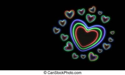 render, coloré, vj, -, mouvement, hearts., métrage, 3d