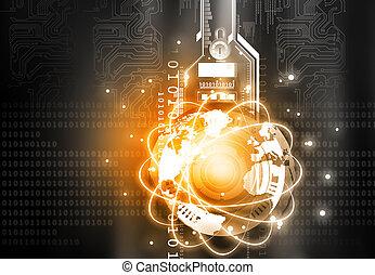 render, communication, concept., global, technologie, 3d