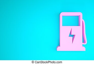 render, concept., isolerat, 3, drivmedel, elektrisk, pump, skylt., blå, bakgrund., ikon, eco, laddning, rosa, illustration, station, minimalism, bil