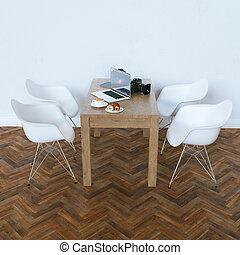 render, contemporain moderne, interior., blanc, 3d