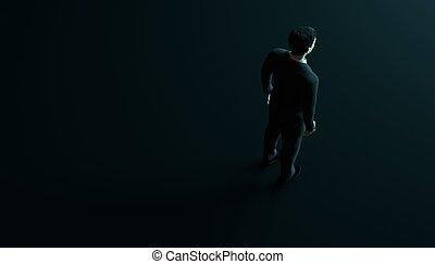 render, copyspace., arrière-plan noir, complet, homme affaires, 3d