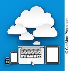 render, copyspace, gadgets, connecter, nuage, 3d