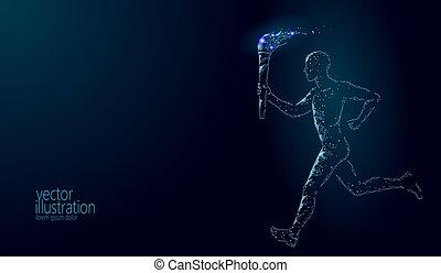 render, corridore, torcia, sportivo, corsa, blu, polygonal, poly., sagoma, internazionale, 3d, moderno, stella, fuoco, illustrazione, scuro, basso, fondo, presa, bandiera, uomo, tedoforo, atleta, vettore