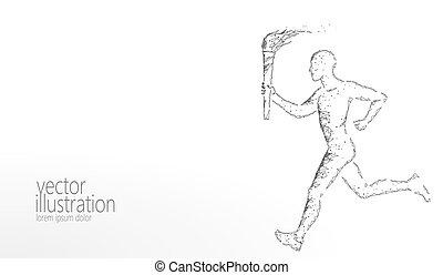 render, corridore, torcia, sportivo, monocromatico, polygonal, poly., sagoma, bianco, 3d, moderno, corsa, fuoco, illustrazione, neutrale, basso, fondo, presa, bandiera, uomo, grigio, tedoforo, atleta, vettore, stella