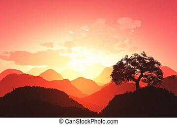 render, coucher soleil, oriental, 01, 3d