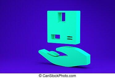 render, courier., carton, porte, main, vert, 3d, boîtes, ...