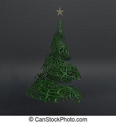 render, de, 3d, árvore natal