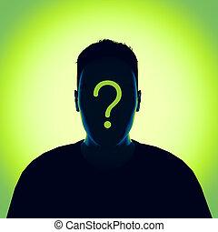render, desconhecidas, mark., pergunta, pessoa, 3d