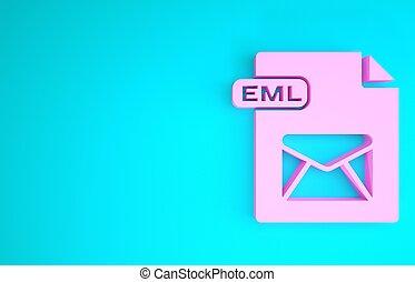 render, downloaden, concept., vrijstaand, 3d, document., bestand, achtergrond., blauwe , pictogram, eml, illustratie, roze, knoop, symbool., minimalism