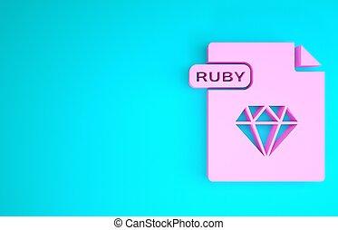 render, downloaden, robijn, concept., vrijstaand, 3d, document., bestand, achtergrond., blauwe , pictogram, illustratie, roze, knoop, symbool., minimalism