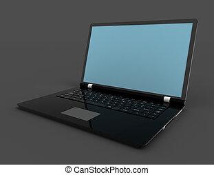 render., draagbare computer, vrijstaand, achtergrond., computer, 3d