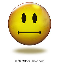 Render emoticon 3D. Attentive - Emoticon yellow in white...