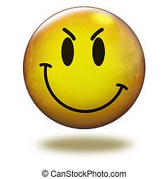Render emoticon 3D. Cunning - Emoticon yellow in white...