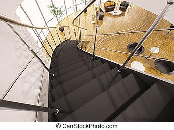 render, escalier, métal, étapes, noir, 3d