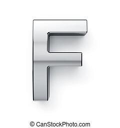 render, f, alfabeto, -, metalic, carta, simbol, 3d