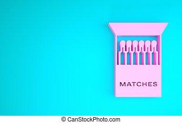render, fiammiferi, concept., isolato, 3d, fondo., blu, icona, illustrazione, rosa, scatola di fiammiferi, minimalismo, aperto