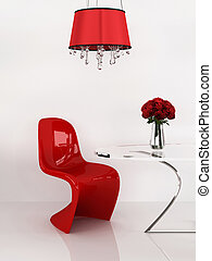render, furniture., loft., moderno, interior., minimalismo, sedia, 3d