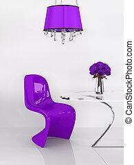render, furniture., viola, moderno, loft., interior., minimalismo, sedia, 3d