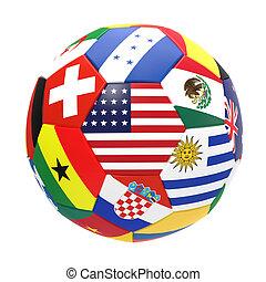 render, futebol, fundo, branca, futebol, 3d