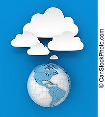 render, globe, copyspace, connecter, nuage, 3d