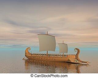render, grec, -, trireme, bateau, 3d