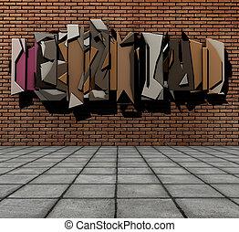 render, grunge, brique, flotter, mur, trottoir, graffiti, 3d