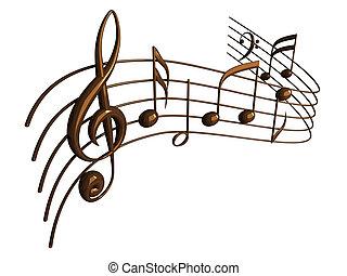 render, hangjegy, elszigetelt, fehér, zenés, 3
