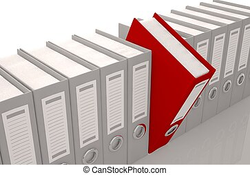 render illustration of archive folders with one selected