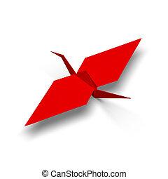 render, illustration, origami, grue, rouges, 3d