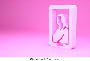 render, illustrazione, concept., 3d, immagine, museo, isolato, fondo., minimalismo, icona, ritratto, rosa