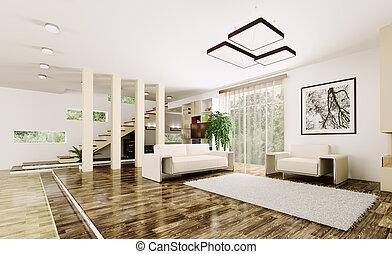 render, intérieur, habiter moderne, salle, 3d