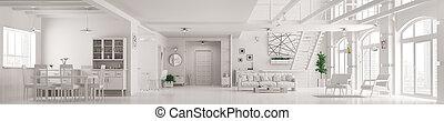 render, intérieur, moderne, appartement, panorama, grenier, 3d, blanc