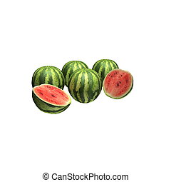 render, isolado, melancia, branca, 3d, agradável