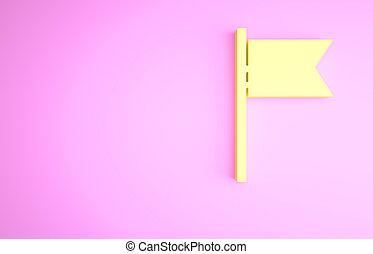 render, jaune, 3d, minimalisme, symbole., illustration, arrière-plan., marqueur, rose, drapeau, concept., isolé, icône, emplacement