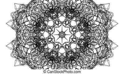 render, kaléidoscope, modèle, résumé, arrière-plan., noir, blanc, mouvements, animation., 3d