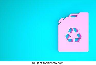 render, kanister, recycle., concept., isolerat, 3, drivmedel, barrel., bio, grön, bakgrund., blå, ikon, eco, illustration, rosa, minimalism, miljö