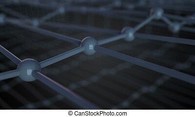 render, lattice, cima, ilustração, átomos, cristal, conectado, grade, vista, fim, molecular, 3d