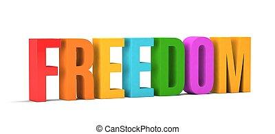 render, libertad, word., ilustración, plano de fondo, blanco, 3d