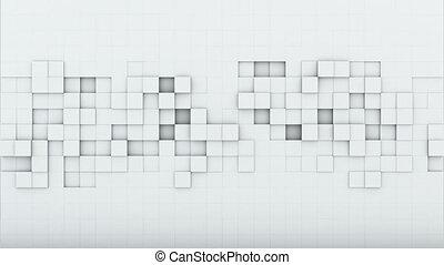 render, loopable, animation, blanc, carrés, 3d