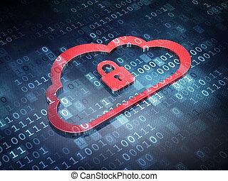 render, lucchetto, sfondo rosso, concept:, tecnologia digitale, nuvola, 3d