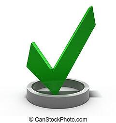 render, marque, vert, icon., chèque, 3d