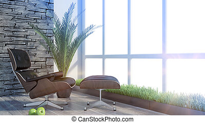 Render modern empty interior office - 3D rendering modern...