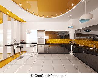 render, moderne, conception, intérieur, cuisine, 3d
