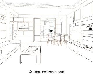 render, moderne, conception, intérieur, living-room., 3d