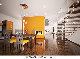 render, moderne, intérieur, orange, cuisine, 3d